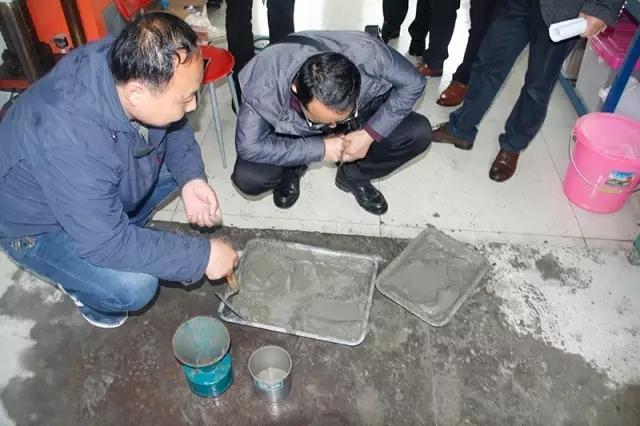 王总一行在公司科研中心观摩湿拌万博manbetx客户端苹果版试验。