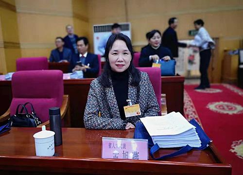 河南省人大代表、信阳市灵石科技有限公司副总经理、高级工程师孟旭燕参加省十三届人大常委会第七次会议。