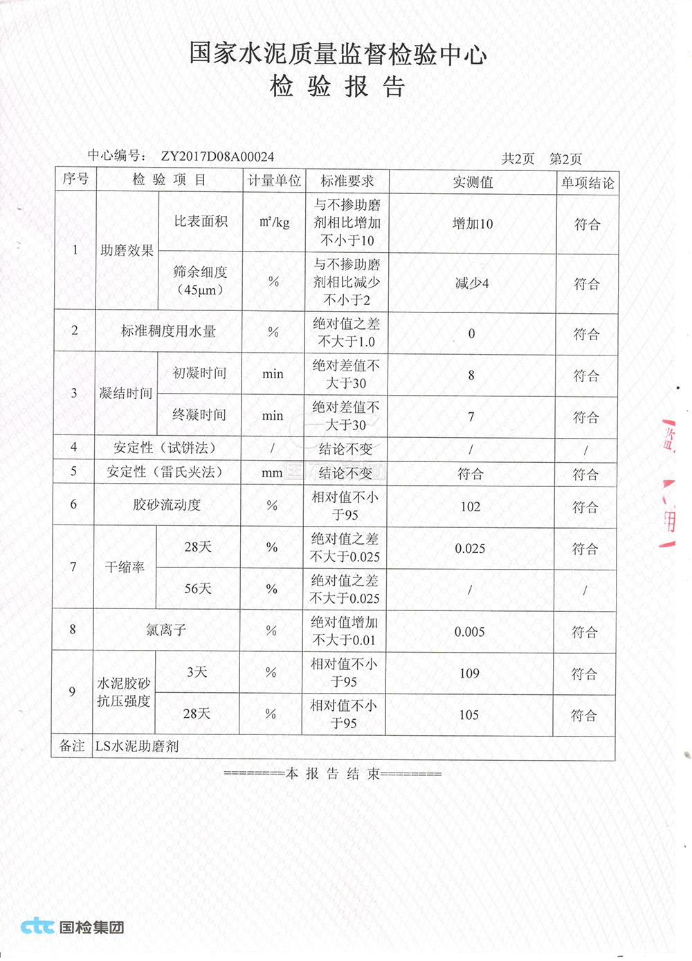 金灵鉐水泥助磨剂产品检测报告2